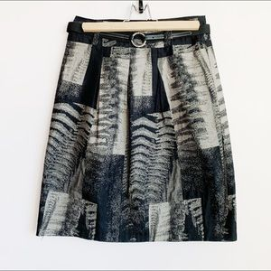 fitted gerry webber abstract print belted skirt